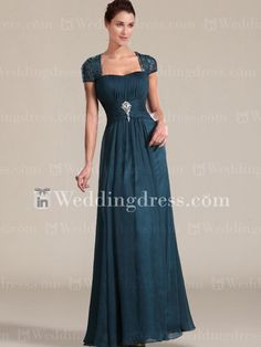 Elegant Chiffon Mother of the Bride Gown with Cap Sleeves MO011N
