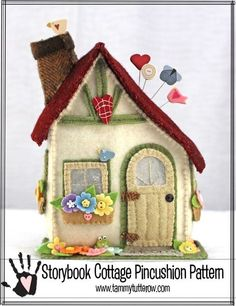 Storybook Cottage Pincushion Pattern available by download | www.tammytutterow.com