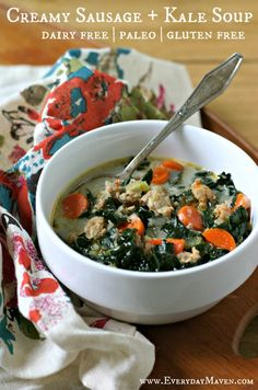 Creamy Sausage and Kale Soup (Dairy Free, Paleo) and a visit to Pacific Foods in Oregon