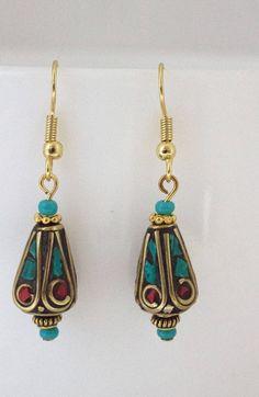 Zola Bazaar Teardrop Boho Earrings, Coral & Turquoise Earrings, Bohemian Earrings, Boho Jewelry, Gift for Her by IvanRoseCreations on Etsy