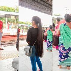 Long Hair Ponytail, Ponytail Hairstyles, Long Indian Hair, Indian Hairstyles, Braids, Shirt Dress, Long Hair Styles, Shirts, Beautiful