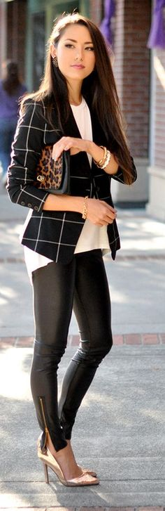 Black And White Pointed Hem Windowpane Blazer by Hapa Time...i like it kinda edgy