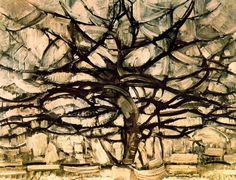 "Pieter Cornelis ""Piet"" Mondriaan, after 1906 Mondrian (March 1872 – February Gray Tree Oil on canvas, 1912 × cm Gemeentemuseum Den Haag, The Hague Piet Mondrian, Web Gallery Of Art, Gray Tree, Galerie D'art En Ligne, Dutch Painters, Wassily Kandinsky, Art Plastique, Tree Art, Figure Painting"