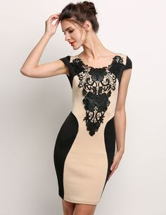 Beige&black Silm Sleeveless Lace O Neck Bodycon Going Out Dress