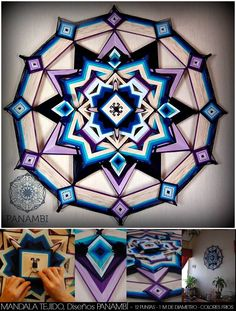 madala 12 puntas, 100 cm de diametro, colores frios. (mandala tejido - sikuli - ojo de dios) mas + info en https://www.facebook.com/paula.panambi