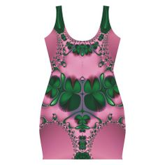 Lucky Clovers Spring in Pink Full Print Bodycon Dress by EML CircusValley