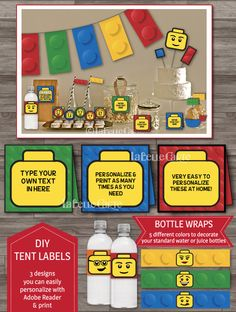 INSTANT DOWNLOAD, Lego Party Decor, Lego Party Printable Pack, Lego Birthday Party, Lego Invitations, Banner, Labels, Toppers DIGITAL Files by LaBelleStudio on Etsy https://www.etsy.com/listing/193378267/instant-download-lego-party-decor-lego