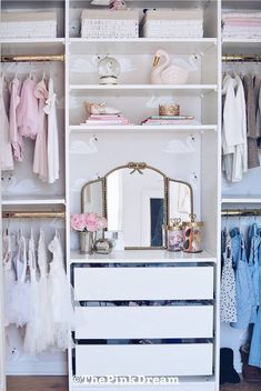 Ikea Pax hack: How to Customize a Small Closet with the Pax System. - Ikea DIY - The best IKEA hacks all in one place Ikea Closet Hack, Ikea Pax Hack, Ikea Pax Wardrobe, Ikea Kallax, Ikea Hacks, Bedroom Closet Design, Girl Bedroom Designs, Closet Designs, Kids Bedroom