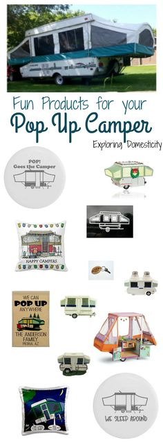 Fun pop up camper products - clothing, window stickers, pillow covers, camp signs, Christmas ornaments, etc.  Popup camper | tent trailer | pop-up camper
