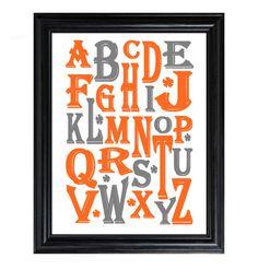 Alphabet ABC Orange 8x10 nursery print wall by BluebeardStudio, $12.00