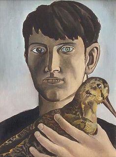 'Self-portrait with Woodcock' (c.1951) by Irish-born British/Portuguese painter Patrick Swift (1927-1983). Oil on canvas. via the painter's blog