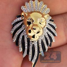 Mens Diamond Lion Head Pendant 10K Yellow Gold Black Enamel
