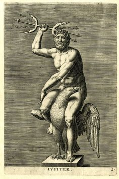 Plate 2: Jupiter. Statue of the planetary god seated naked on an eagle, whole-length on a socle, holding a double trident in his right hand; unsigned; first state before planet-sign added on socle; after Jacques Jonghelinck. 1586 Engraving
