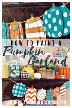 Paint your own pumpkin banner just in time for fall! Autumn colors like gold and turquoise make fun patterns on this DIY painted wood banner from Target!
