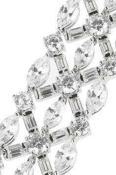 Kenneth Jay Lane|Silver-plated cubic zirconia bracelet|NET-A-PORTER.COM