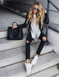 Gray tee with all black.