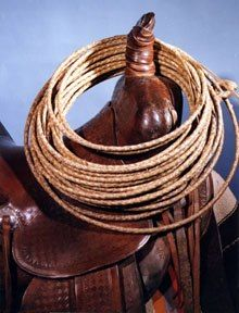 "photo: 90 foot riata by Ernie Morris, copyright Vaquero Enterprises.  Braided rawhide riatas were a necessary ""tool"" of the trade for early vaqueros. Who would have guessed that years later the art of rawhide braiding (used for function) would be the refined and sought after art form which it is today......riatas still remain a functional gear item for today's ""riatamen"" but are certainly admired & purchased by ""collectors""."