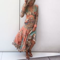 Gabby at Zimmermann LA wears the Anais Antique Floral Dress, Hybrid Sandal