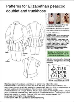 """Elizabethan peascod doublet and trunkhose, or with Venitians, great """"typical"""" look for Gentleman Of Adventure."""