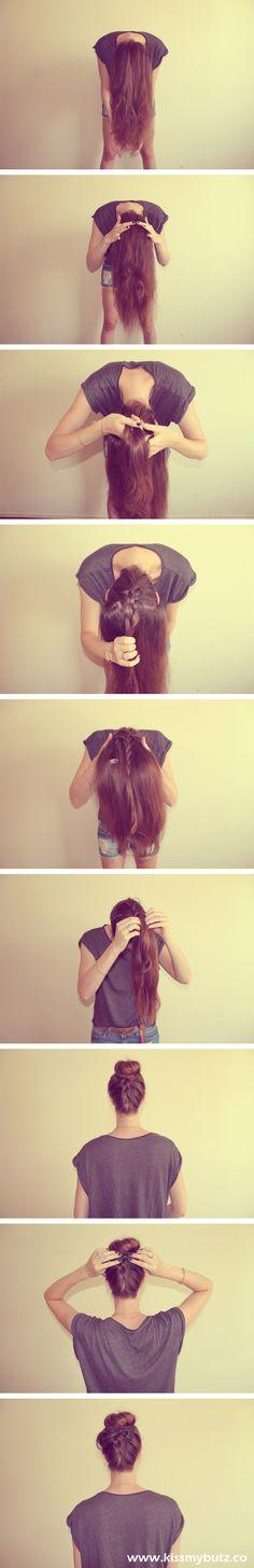 Cute braid/bun tutorial - Kiss my Butz http://www.kissmybutz.co/2013/01/french-braid-with-high-bun.html