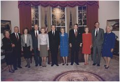 President and Mrs. Bush pose with the former presidents and first ladies in the replica of the Oval Office at the Dedication of the Ronald Reagan Presidential Library in Simi Valley, California.