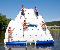 Have so much fun with this Inflatable Iceberg! 14 ft mountain that can holds up to 1500 pounds! With Warranty for 1 Year commercial use or 5 years home use manufacture defects! Features a repair kit that includes Two 8″ squares of each color plus 2 ounces of glue! Awesome!