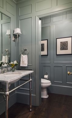 Powder Room, Colonial Style Custom Home in Atherto. - - Powder Room, Colonial Style Custom Home in Atherto. Grey Bathrooms, Beautiful Bathrooms, Gold Bathroom, Bathroom Wall, Bathroom Yellow, Glass Bathroom, Bathroom Cabinets, Bathroom Vanities, Wood Panel Bathroom