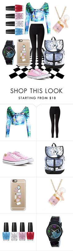 """""""Alice In Wonderland"""" by fashion4life2100 ❤ liked on Polyvore featuring Miss Selfridge, Converse, Disney, Casetify and OPI"""