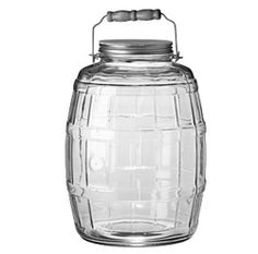 Anchor Hocking 85679 2-1/2-Gallon Glass Barrel Jar with Brushed-Aluminum Lid by Anchor Hocking. $45.00. 2-1/2-gallon clear-glass jar brings dimension and style to any room. Measures approximately 9-4/5 by 9-4/5 by 14-1/5 inches. Brushed-aluminum lid screws on and off easily for quick access to contents. Can be used to store a variety of items; dishwasher-safe. Barrel-shaped design; bent-wire carrying handle with comfortable grip. On the table, in the kitchen, and around the h...