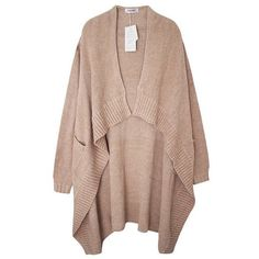 Soft High Low Cardigan ($97) ❤ liked on Polyvore featuring tops, cardigans, outerwear, jackets, sweaters, cream, cream top, cream cardigan, brown cardigan and brown tops