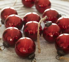 Large Red Mercury Glass Ornaments Set Of 12 Christmas