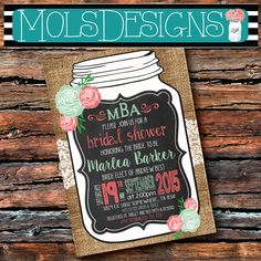 Any Color Lace Bridal MASON JAR Vintage BURLAP Chalkboard Coral Mint Peach Cream Pink Floral Wedding Brunch Tea Party Baby Shower Invitation by MolsDesigns on Etsy https://www.etsy.com/listing/244015288/any-color-lace-bridal-mason-jar-vintage