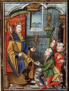 The Hague, KB, 128C 8, f.21r (the Fool enthroned). Nicolaus de Lyra, Postilla litteralis (fragments). Hainaut, Master of Jacquemart Pilavaine a.o. (illuminators); c. 1450-1475.