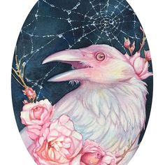 """Harbinger"" ~ for ""Small Wonders""  on view now at @archenemyarts  #watercolor #whiteraven"