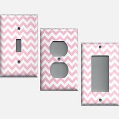 Light Pink Chevron Zig Zag Print Hand Made Light Switchplates & Outlet Covers - Simply Chic Gal