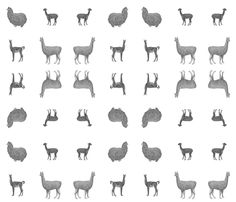 Greyscale Llamas fabric by biotribe on Spoonflower - custom fabric