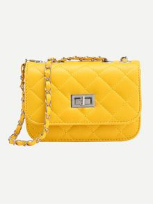 Yellow Twist Lock Diamondback PU Chain Bag