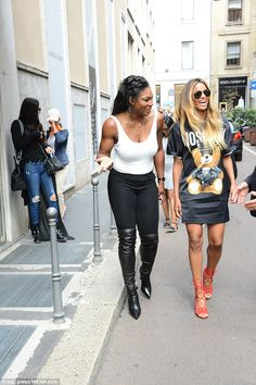 Having a giggle: Ciara and Serena Williams joined their multi-talented forces as they enjoyed the spoils of Milan Fashion Week together on Thursday alongside fashion maven Guiseppe Zanotti