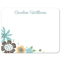 Cute note cards featuring whimsical, brown and blue flowers arranged in the bottom left corner. Custom name or other short text. Blue back. Personalized note cards for women