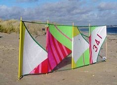 """Love this """"St Ives Sailcloth Windbreak & Bag"""" from The Seaside Company. The transparent sections mean that you can see what's going on over on the rest of the #beach!"""