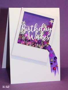 """Simon Says Stamp Birthday whishes frame die to make a """"broken"""" shaker card Distress ink Wilted violet on the background Diy Birthday, Birthday Wishes, Birthday Cards, Happy Birthday, New Crafts, Paper Crafts, Shaker Cards, Simon Says Stamp, Distress Ink"""