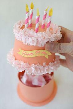 Paper Birthday Cake Box - 14 Pinspired DIY Birthday Gift Tutorials