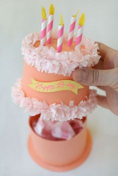 Paper Birthday Cake Box - 14 Pinspired DIY Birthday Gift Tutorials