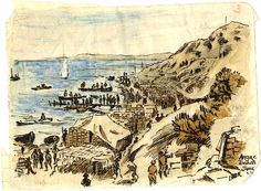 An ink and wash sketch of stores on Anzac beach