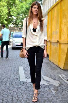 Bianka Brandolini street style. Shirt, top, jeans and sandals
