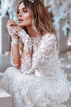 Chloe Lloyd in her GL custom-couture bridal gown. // KIRA wedding dress by From Galia Lahav Le Secret Royal bridal collection. Stunning Wedding Dresses, Wedding Dress Trends, Long Wedding Dresses, Long Sleeve Wedding, Perfect Wedding Dress, Boho Wedding Dress, Bridal Dresses, Wedding Gowns, Floral Wedding