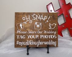 Oh Snap Personalized Hashtag Wedding Sign by CraftyWitchesDecor