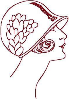 Redwork Flapper #10 Embroidery Design