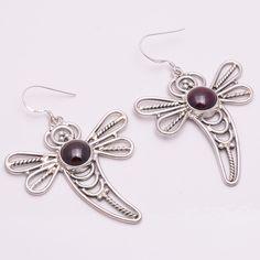 925 Sterling Silver Earrings, Natural Sun Stone Gemstone Desinger Jewelry CE244 #DropDangle