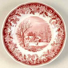 Red Spode China Plate ~ I always like the red transferware toile! Antique Dishes, Vintage Dishes, Vintage China, Christmas China, Christmas Dishes, Gold Plastic Plates, Christmas Dinnerware, Red Cottage, China Patterns